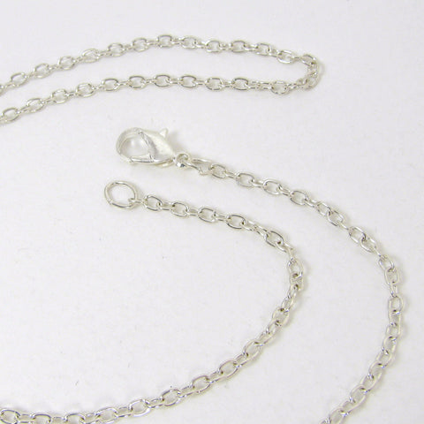 Silver Plated Flat Link Cable Chain with Lobster Clasp - 2 mm X 16 Inch