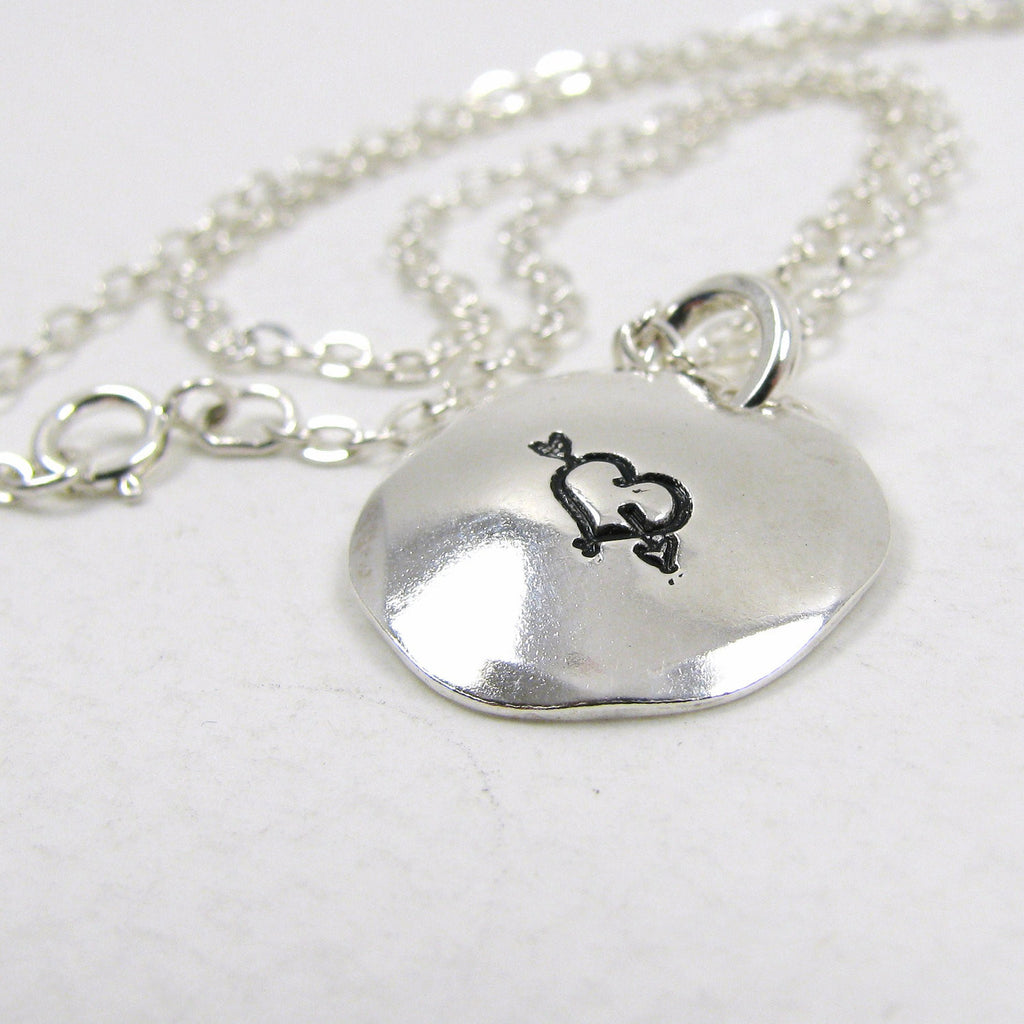 "Fine Silver Disc Necklace with Sterling Silver Chain - 5/8"" Domed Silver Disc Pendant Necklace."