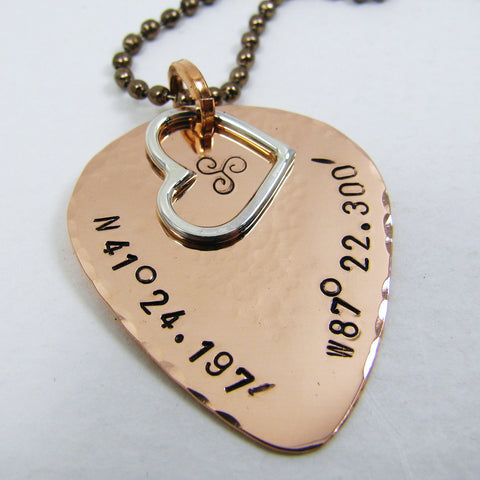 Guitar pick pendant with sterling silver heart and personal message, 7th Copper Anniversary Gift, copper guitar pick necklace. GPS location