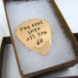 Personalized Copper Guitar Pick, Polished copper, music lover, guitar player, personalized message