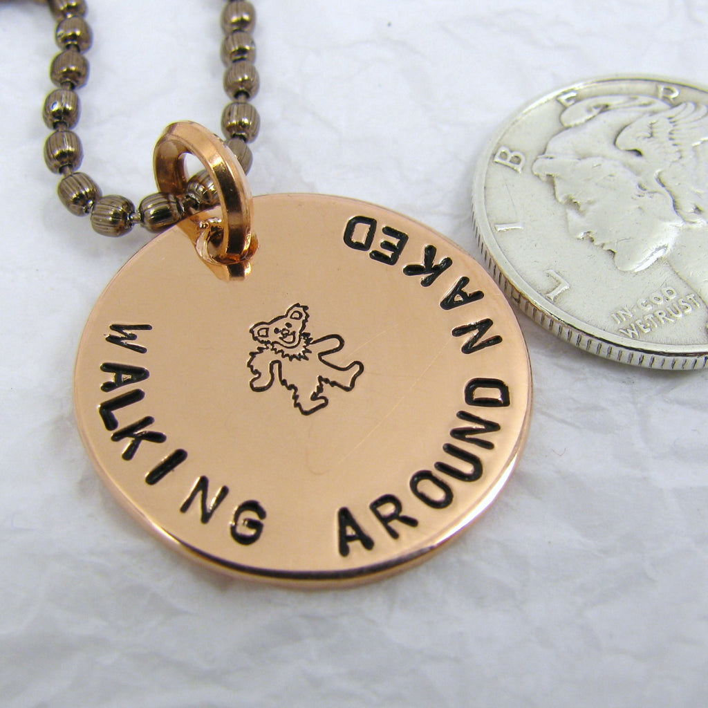Personalized Copper  Pendant - Walking Around Naked