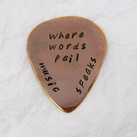 Personalized Copper Guitar Pick, Flame Oxide Finish Copper, Where Words Fail Music Speaks