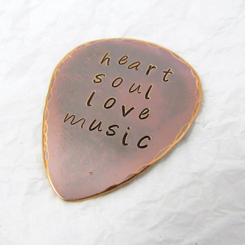 Personalized Copper Guitar Pick, Flame Oxide Finish Copper, Heart, Soul, Love, Music, Copper Anniversary, 7th Anniversary