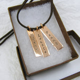 Personalized Copper Pendant, Hand Stamped rectangles,personalized names, dates, places or words