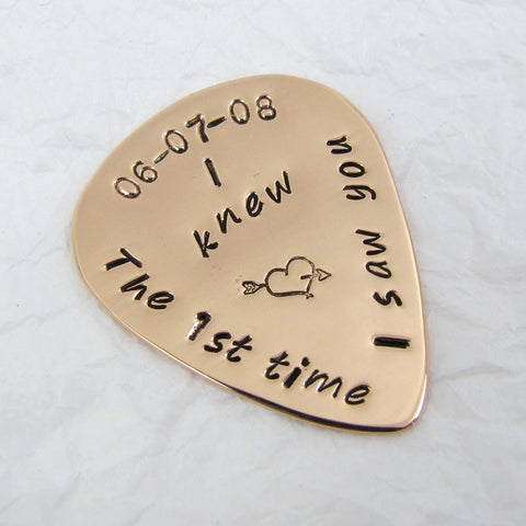 Personalized Polished Copper Guitar Pick, 7th Anniversary Gift, Custom Copper Anniversary Guitar pick, music lover guitar player gift