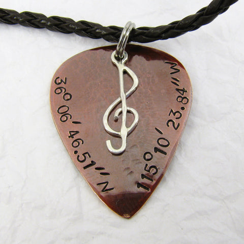 Personalized Guitar Pick Pendant with Sterling Silver Treble Clef