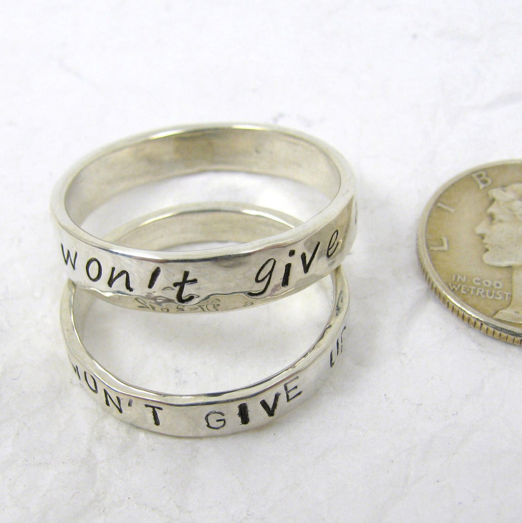 Personalized Fine Silver Promise Rings, 3 mm or 4 mm, set of 2