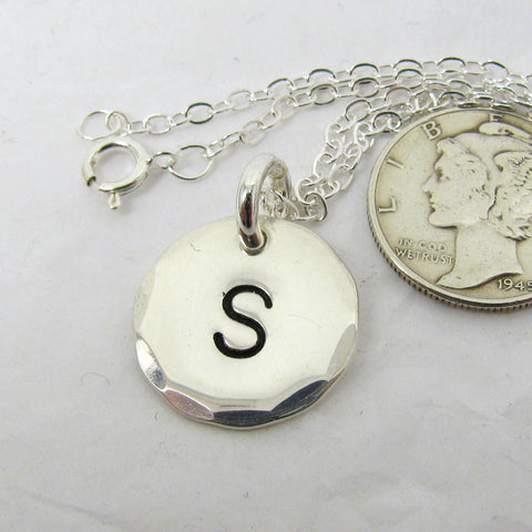 Fine Silver Mongram Pendant Necklace with Sterling Chain, .999FS Initial Necklace, Monogram Necklace