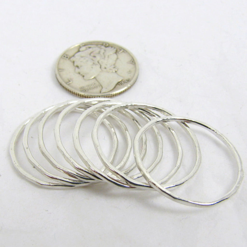7 Fine Silver Stacking Rings, Midi Stacking rings, Fine Silver Rings, Thin Silver Rings, Set of 7, Narrow Hammered Rings