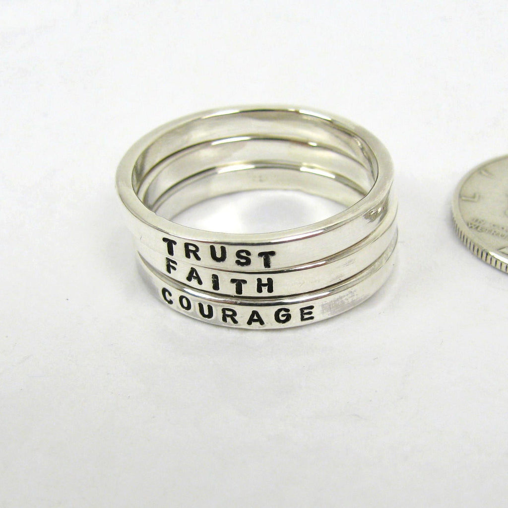 Personalized Sterling Silver Stacking Rings - 2.4 mm, set of 3