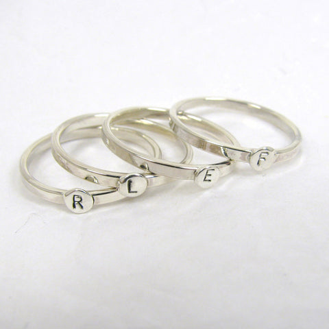 4 Sterling Silver Letter Rings,  1.75mm Stacking Rings,  Initial Rings, Personalized Silver Rings,  Mom Rings, Silver letter rings