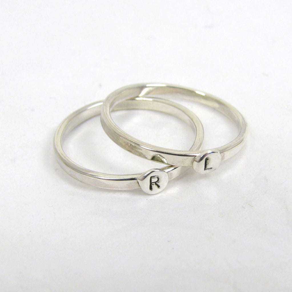 Sterling Silver Letter Rings,  1.75mm,  set of 2