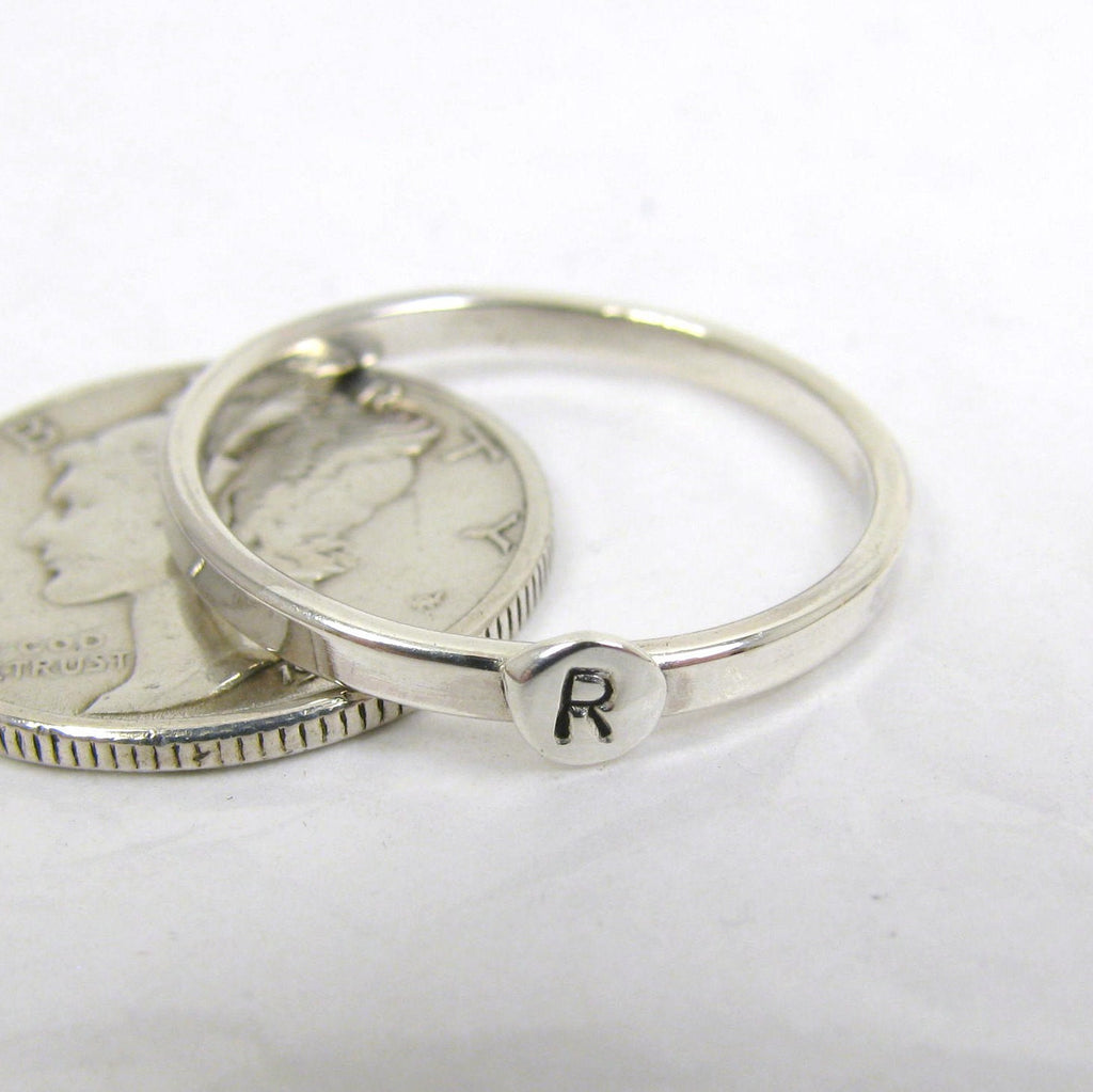 Sterling Silver Letter Ring,  1.75mm Stacking Ring,  Initial Ring, Personalized Silver Ring,  Mom Ring, Silver letter ring