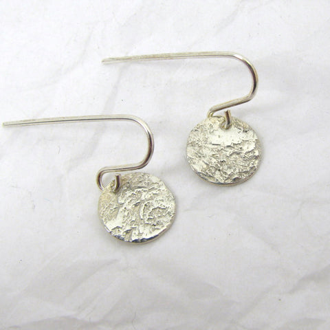"Fine Silver Steel Pattern Disc Earrings 3/8"",  Pure Silver Earrings, .999FS Patterned Silver, Rustic Silver Earrings"