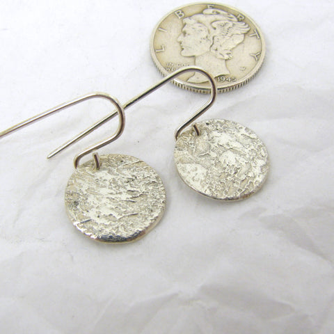 "Fine Silver Steel Pattern Disc Earrings 1/2"",  Fine Silver Earrings, .999FS Patterned Silver, Rustic Silver Earrings"