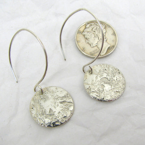 "Fine Silver Steel Pattern Disc Earrings 5/8"""",  Fine Silver Earrings, .999FS Patterned Silver, Rustic Silver Earrings"