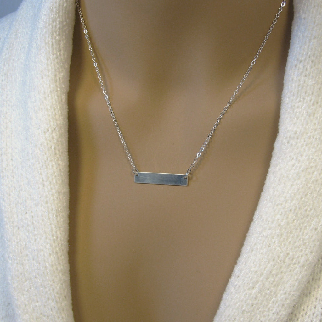 Fine Silver Bar Necklace, Minimalist Necklace, Pure Silver Personalized Necklace, Necklace for Women,  .999FS Bar, Sterling Silver Chain