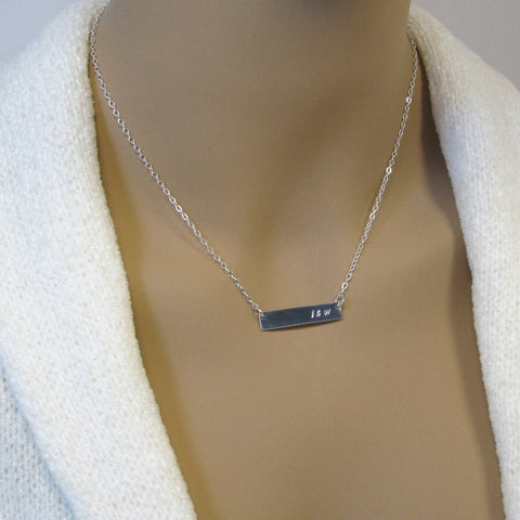 Fine Silver Bar Necklace, Silver Initials Necklace,  Personalized Necklace, Necklace for Women,  .999FS Bar, Sterling Silver Chain