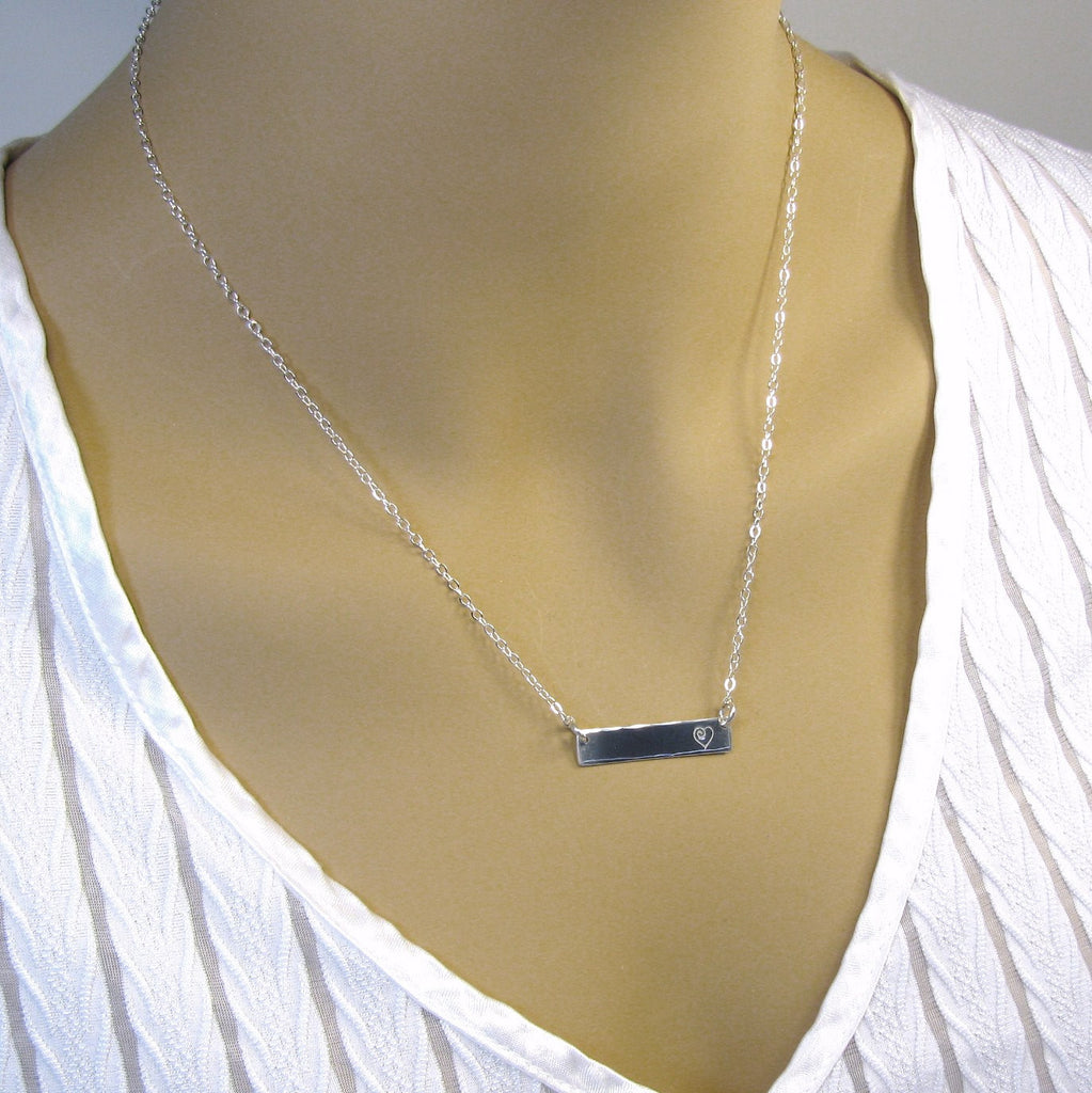 Fine Silver Bar Necklace, Silver Monogram Necklace,  Personalized Necklace, Necklace for Women,  .999FS Bar, Sterling Silver Chain