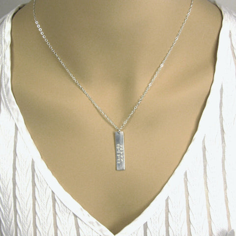 Fine Silver Minimalist Bar Necklace