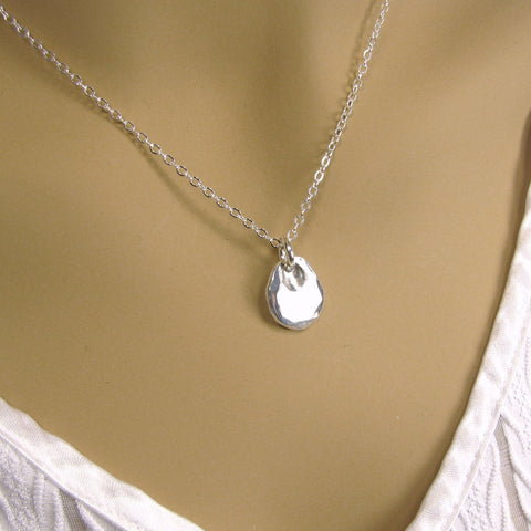 Fine Silver Monogram Teardrop Necklace, Minimalist Necklace, Pure Silver Personalized Necklace, .999FS Reclaimed Silver, Mom Necklace