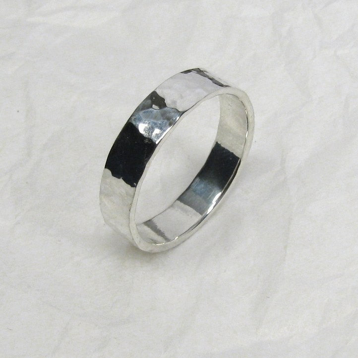 Pure silver rustic style promise ring 5 mm wide 1.25 mm thick for wedding bands, couples rings, everyday wear