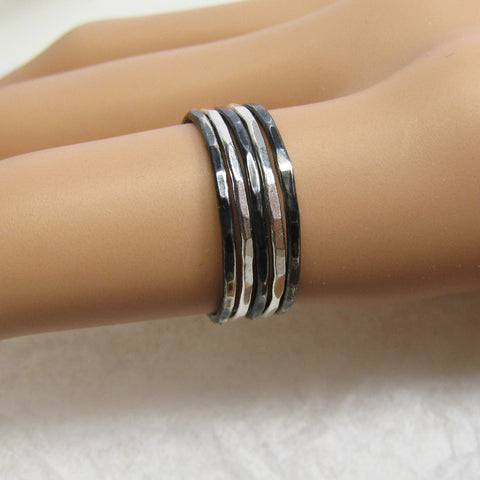 Fine Silver Oxidized & Polished Variegated  Stacking Rings (5), Thin Stackable rings, Pure Silver Rings, Antiqued Silver Rings, Narrow Rings