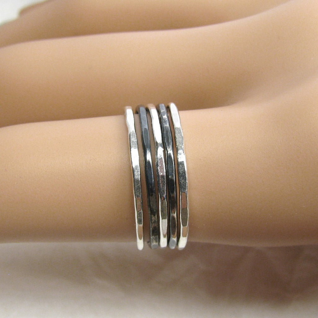 il oxidized rings narrow thin fine polished fullxfull ljrh stacking stackable silver products pure antiqued