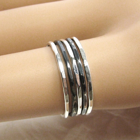 5 Fine Silver Oxidized & Polished Thin Stacking Rings, Thin Stackable rings, Pure Silver Rings, Antiqued Silver Rings, Narrow Rings