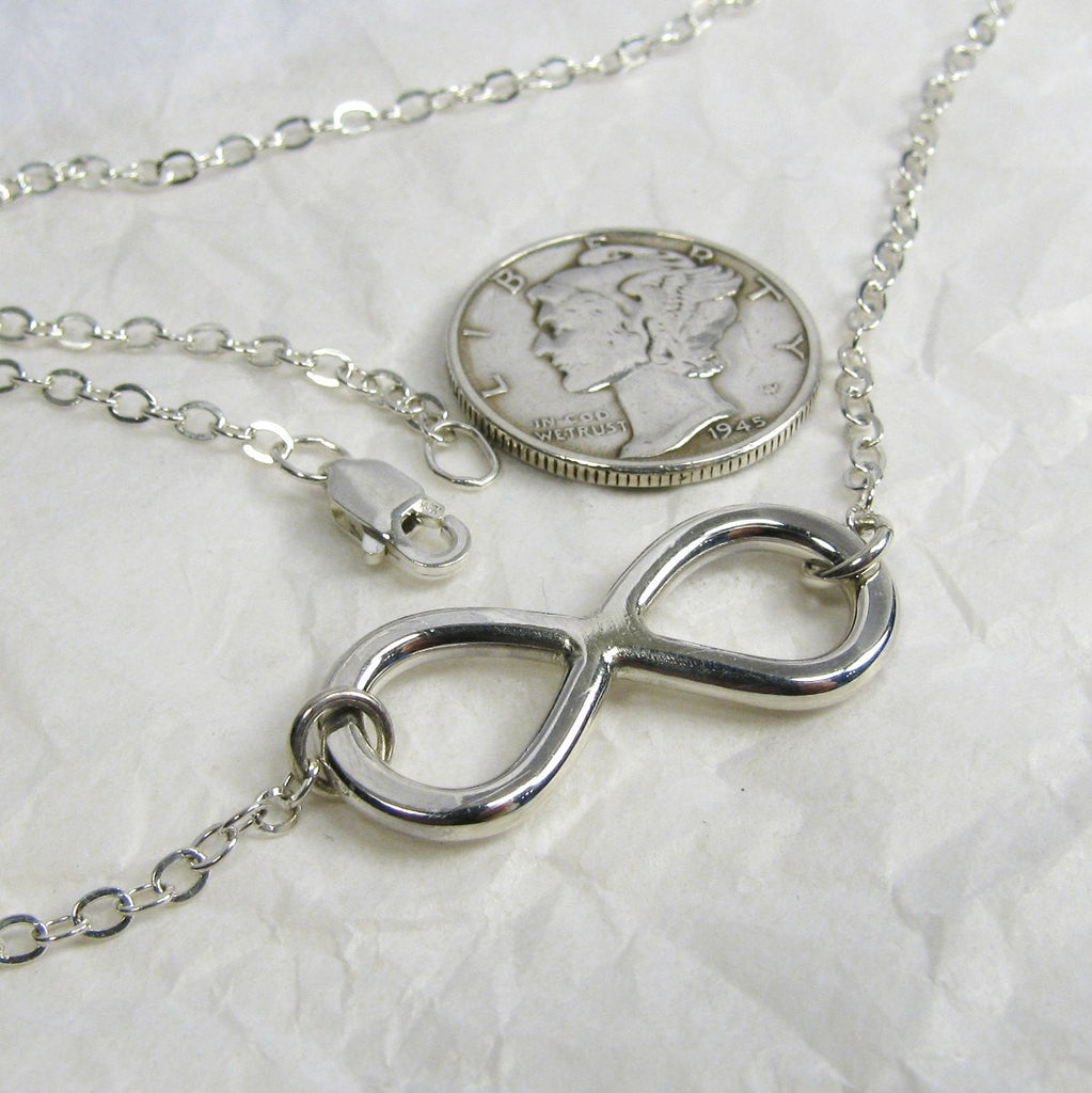 Sterling Silver Infinity Necklace Silver Eternity Necklace Silver