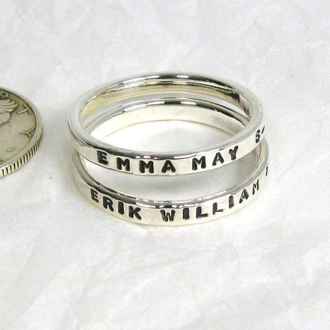 Personalized 2 mm Sterling Silver Rings, set of 2