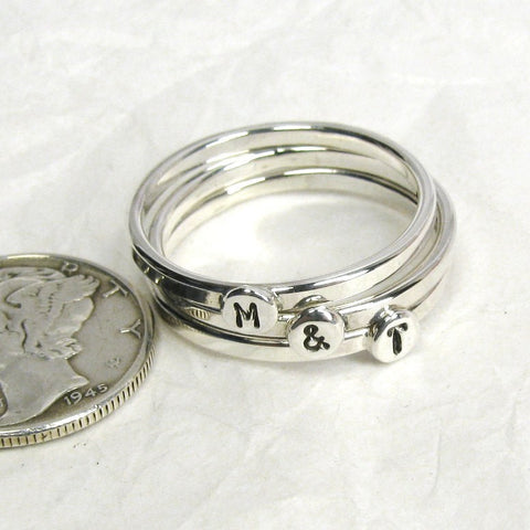 Sterling Silver Initial Rings,  1.75mm, set of 3