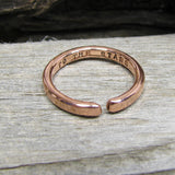 Solid Copper Promise Ring 2.5mm Adjustable , Adjustable Copper Name & Birthday Copper Ring, Personalized copper ring, Copper stacking ring