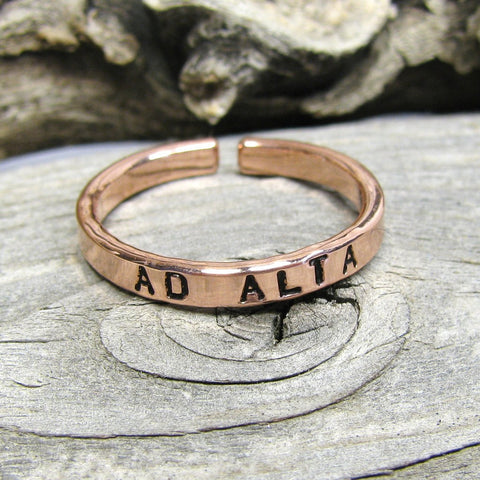 Solid Copper Promise Ring 3 mm Adjustable , Adjustable Copper Custom Copper Ring, Personalized copper ring, Copper stacking ring