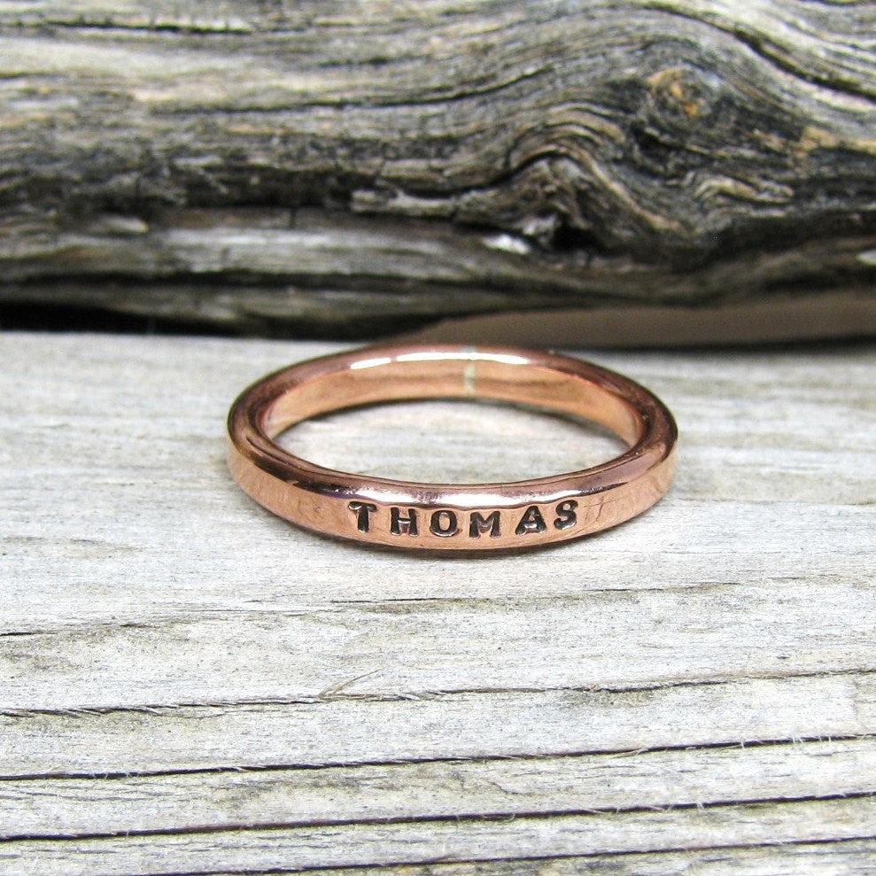Solid Copper Ring 2.5mm,  Custom Copper Promise Ring, Name & Birthday Copper Ring, Personalized copper ring, Narrow copper stacking ring