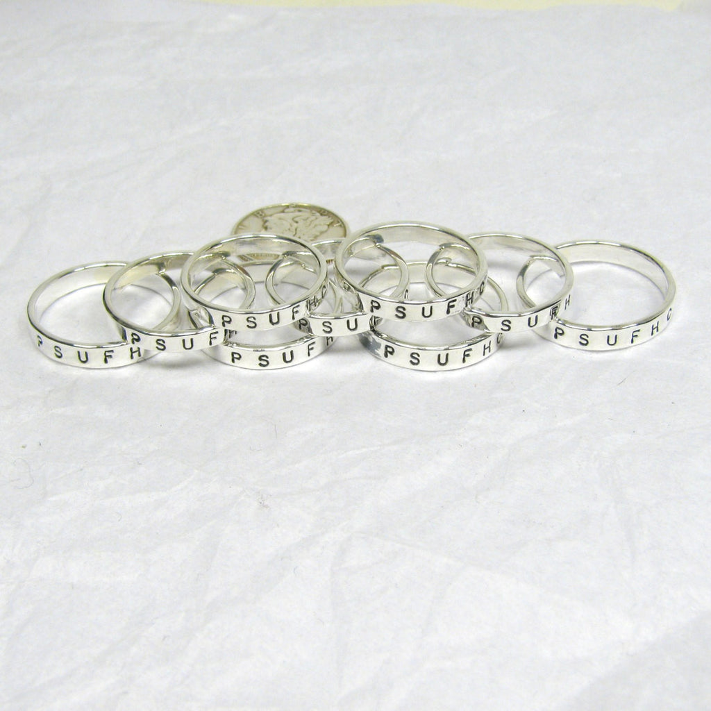 Fine Silver Team Rings, College or High School Sports Team Rings, Custom Silver Team Rings, Team Name and Initials Ring,