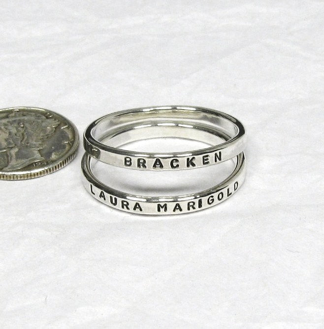 Personalized Sterling Silver Stacking Rings - 2.4 mm, set of 2