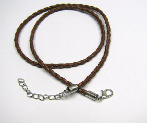 "Brown Braided Faux Leather Pendant Cord, Silver Lobster Clasp, Adjustable Length 18"" - 20 "" or 22"" - 24"", Necklace Charm Pendant Cord"
