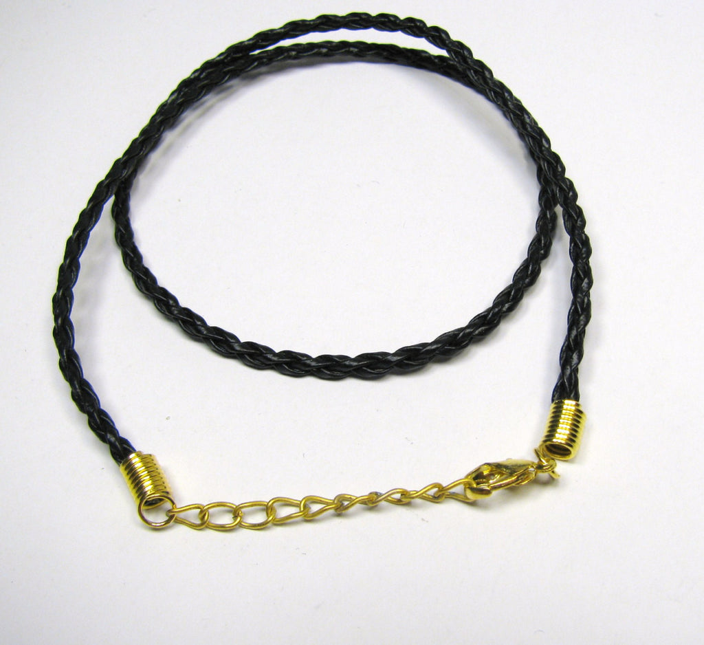 "Black Braided Faux Leather Pendant Cord 19"", Lobster Clasp, Adjustable Length 18""-19"", Necklace Charm Pendant Cord"