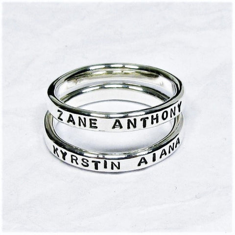 Personalized Sterling Silver Rings, 2.4 mm set of 2