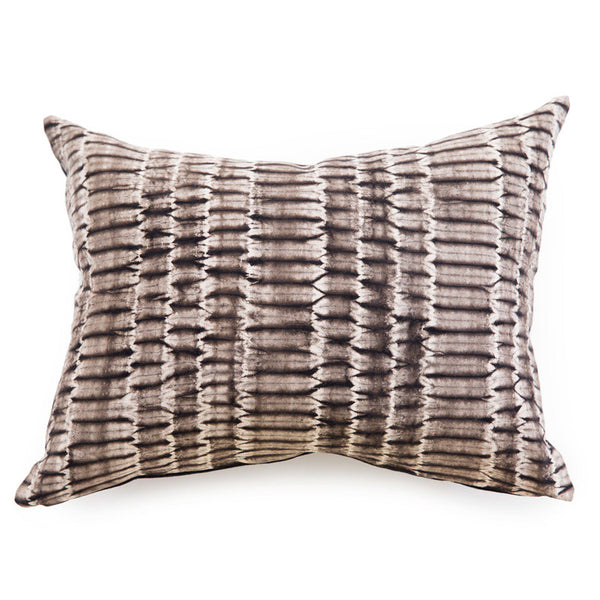 Grey + Brown Shibori Pillow - Rectangle
