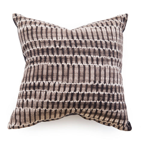 Grey + Brown Shibori Pillow