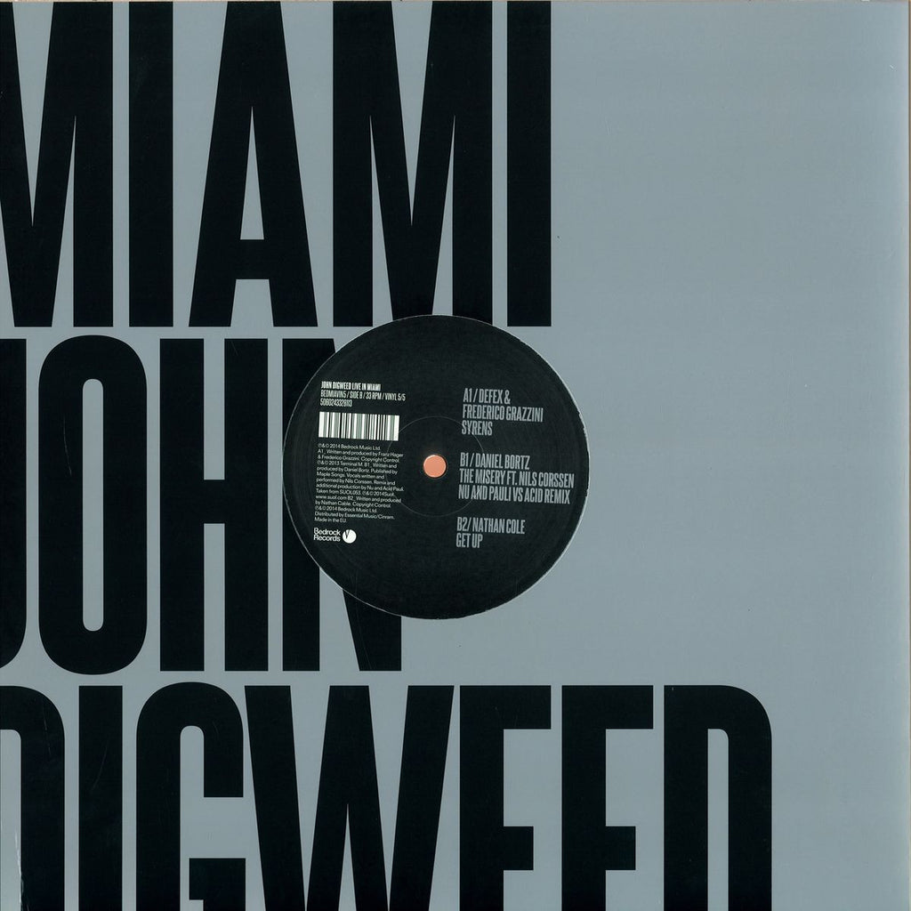 John Digweed - Live In Miami 5/5 - Ltd Bedrock Records BEDMIAVIN5