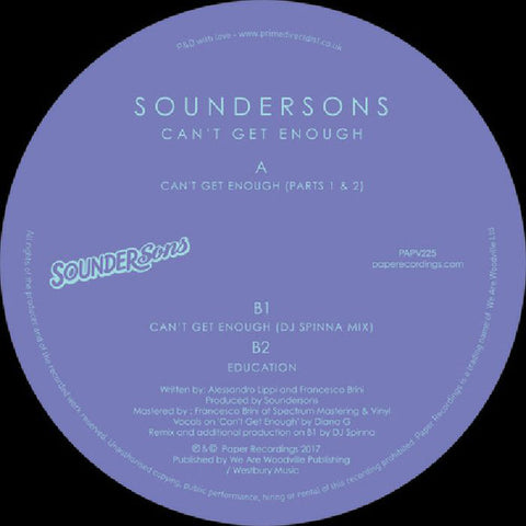 "Soundersons ‎– Can't Get Enough 12"" Paper Recordings ‎– PAPV225"