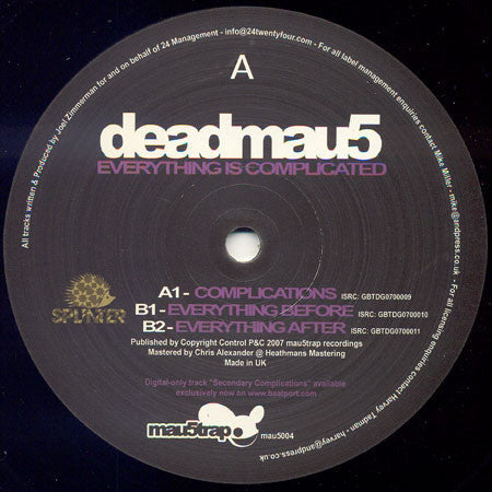 "Deadmau5 ‎– Everything Is Complicated 12"" Mau5trap Recordings ‎– mau5004"