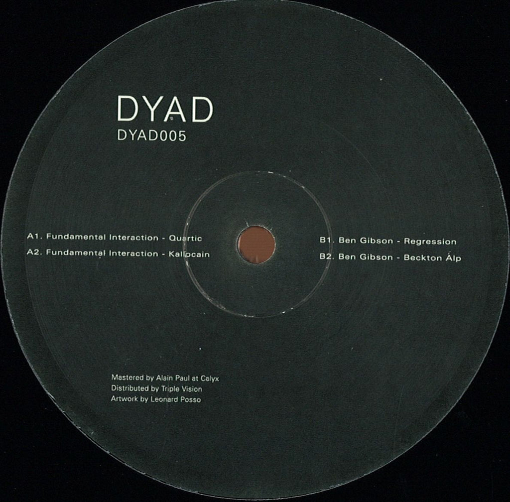"Fundamental Interaction / Ben Gibson ‎– Quartic 12"" DYAD ‎– DYAD005"