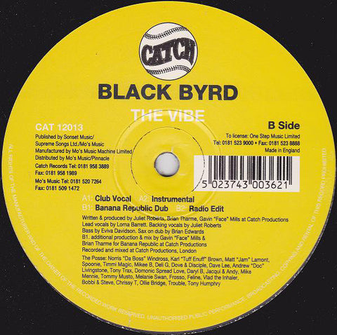 "Black Byrd ‎– The Vibe 12"" Catch ‎– CAT 12013"