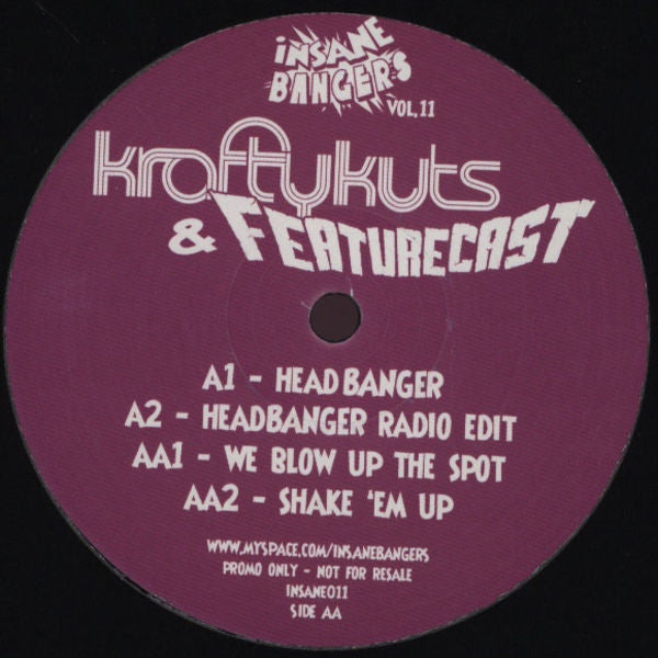 "Krafty Kuts & Featurecast - Insane Bangers Vol. 11 12"" Nut (White) INSANE011"