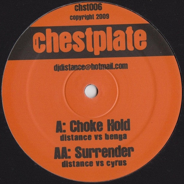 "Distance vs. Benga / Distance vs. Cyrus - Choke Hold / Surrender 12"" Chestplate chst006"
