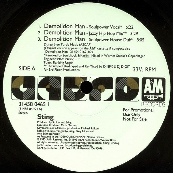 "Sting - Demolition Man (The Underground Mixes) 12"" A&M Records 31458 0465 1"